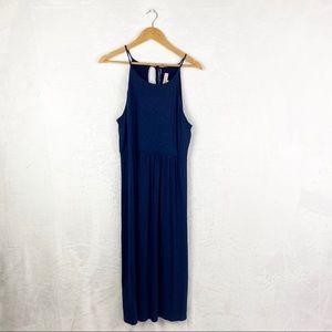 LOFT Navy Blue Halter Midi Dress
